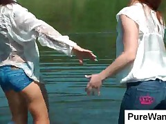 Lesbian Chicks Getting Wet In The Lake