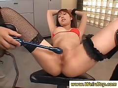 Tied Up Japanese Chick Gets Camel Toe Toyed Hard