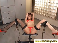 Tied Up Japanese Chick Gets Camel Toe Toyed Hard