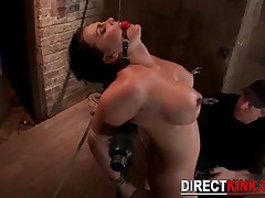 Big Busty Brunette Babe Bondage With Pussy And Nipple Torture