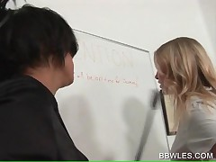Blonde Lesbo Gets Ass Slaped By Dirty Sexy Teacher