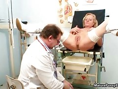 Horny Old Lady Goes Crazy Getting Toys In Her Large Cunt By The Pussy Doctor By MaturePussyExams