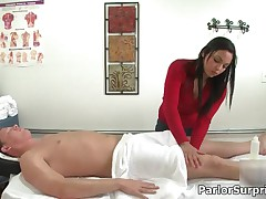 Horny Brunette Babe Getting Naked Nad Jerking And Sucking A Cock At A Massage Place By ParlorSurpris