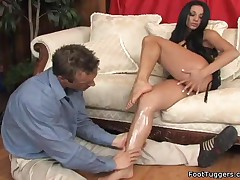Audrey Bitoni - Busty Babe Strokes Cock With Her Feet