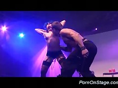 Strippers Couple On Stage Performing Hard Bdsm Action
