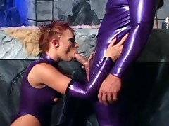 Fetish Sex In Purple Latex Stockings And High Heels