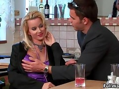 Waiter Helps A Hot Euro Babe With Her Messy Wet Clothes By FullWam