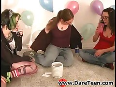 Green Haired Emo Chick Playing Truth Or Dare With Friends