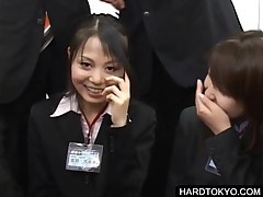 Asian Teen Grils Giving Handjob At A Meeting