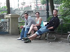 Public Threesome Sex On The Street, AWESOME!