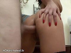 Horny Brunette In Sexy Stockings Getting Fucked By Her Boyfriend