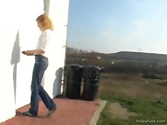 Redhead Gets A Dick Out Of The Wall