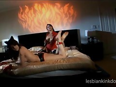 Chesty Lesbians In Latex Sucking Their Hot Nipples