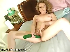 Horny Blonde Gives Herself Pleasure By Using A Long, Green Dildo To Penetrate Her Young, Hot Cunt