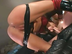 Anal And Deepthroating In Latex Boots And Stockings