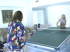 Aidan Aspen Vs Ron Jeremy - A Cute Blonde Teen Plays Table Tennis With Her Big Tits Hanging Out To S