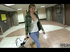 Sexy Teen Babe Showing Her Boobs In A Public Parking Garage By FTVgf