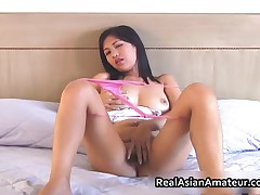 Irresistable Busty Asian Cutie Dildo Fucked In Bed 2 By RealAsianAmateur