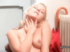 Horny Blonde Teen Monroe Is Using An Umbrella To Rub Her Hot Pussy By MyWowGirls