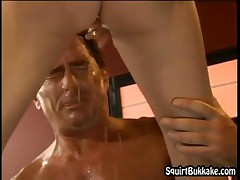 Horny Dude Enjoys Getting Showered With Ladies Gushing Pussy Cum