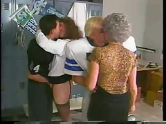 Football foursome in the locker room