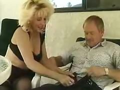 Blonde Milf Stockings Sucks and Fucks