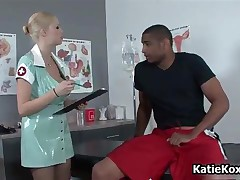 Kinky Latex Nurse With Big Tits Inspects Black Guy His Dick By KatieKoxs