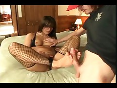 Jayna Oso - Jayna Oso In Ripped Black Fishnets Getting Her Feet Fucked And Sucking Cock