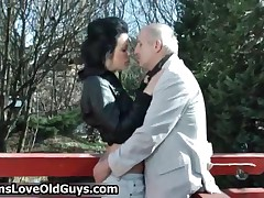 Grey Senior Gets His Dick Sucked By A Cute Teen Girl Outdoor By TeensLoveOldGuys