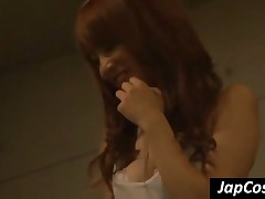 Sexy Redhead Japanese Chick Humiliate A Skinny Guy