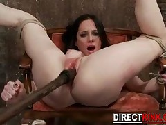 Wild Bondage Sex For Hogtied Sexy Brunette While Her Shaved Pink Pussy Is Being Ed By A Hard Wooden