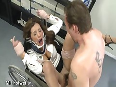 Francesca Le - A Horny Brunette Housewife In Kinky Stockings Does Hard Bondage In The Supplies Room