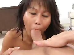 Petite Asian MILF Takes On 2 Pricks