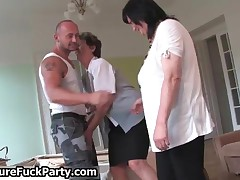 Big Guy Gets His Hard Cock Sucked And Fucked By Three Nasty Mature Whores By MatureFuckParty