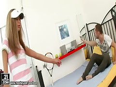 Skinny teen in tennis uniform plowed