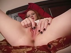 Sexy Redhead Halo Rubs And Teases Her Clit