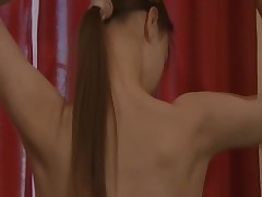 Striptease and teasing of titty girl