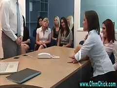 Cfnm office hotties make guy strip