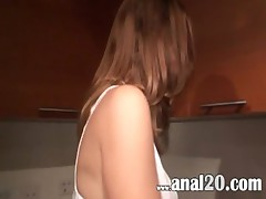 Deep amateurs asshole sex in the kitchen