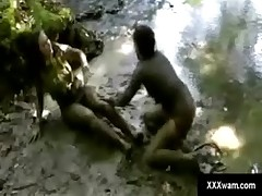Adventure through the woods turns into a kinky mud wrestling match