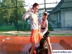 Lesbians gets dirty outdoors