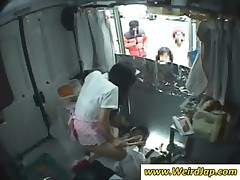 Asian waitress gets slit toyed