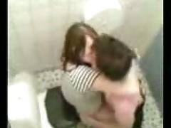 Couple caught fucking in public toilet