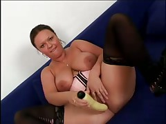 Chunky Helen Drills Self With Toy And Takes Pumping