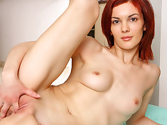 Watch Adela combine her athleticism with her pussy work out