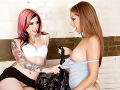 Jenna and Joanna lick their sluts then team up to blow James