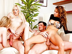 3 horny girls split from the group to please 2 men together!