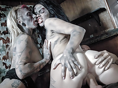 horny crazy dead zombie bitches sucking and fucking live guy