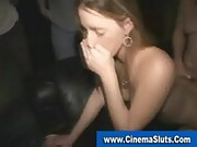 Amateur nympho gets gangbanged and covered in cum in porn cinema
