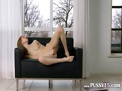 Ultra skinny cunt opening on the couch